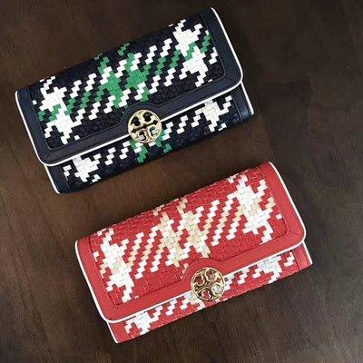 SUNDAY 代購  美國正品 Tory Burch  198 編織風琴系列 兩折錢夾 手拿包 紅色 藍色