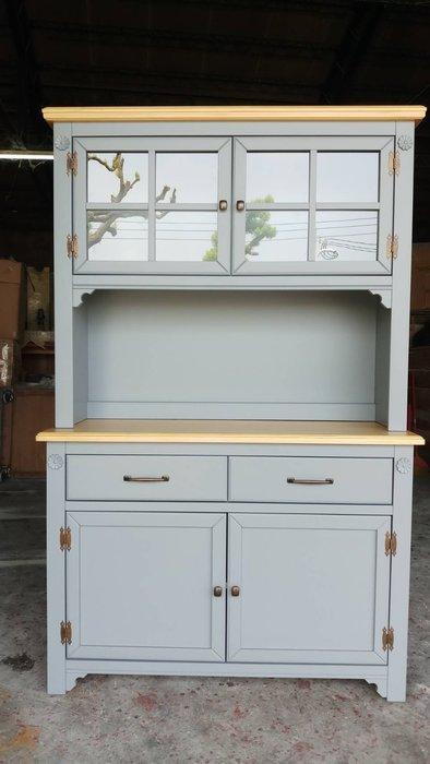 鄉村家具 客製化 訂製品 美生活館 茵儷 雙色 (淺木色+灰色) 餐櫃 碗盤櫃 收納櫃 茶水櫃 也可修改尺寸報價
