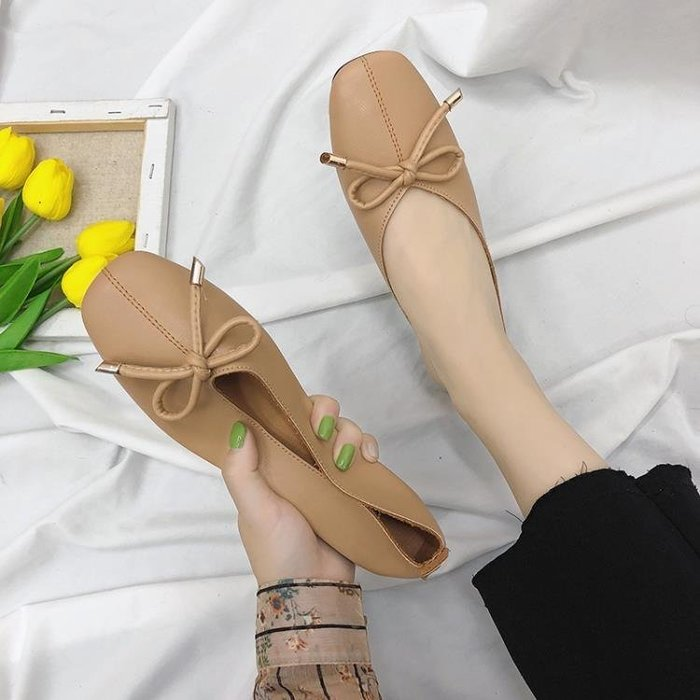 平底單鞋女秋韓版復古方頭奶奶鞋蝴蝶結百搭一腳蹬懶人鞋 Biglove