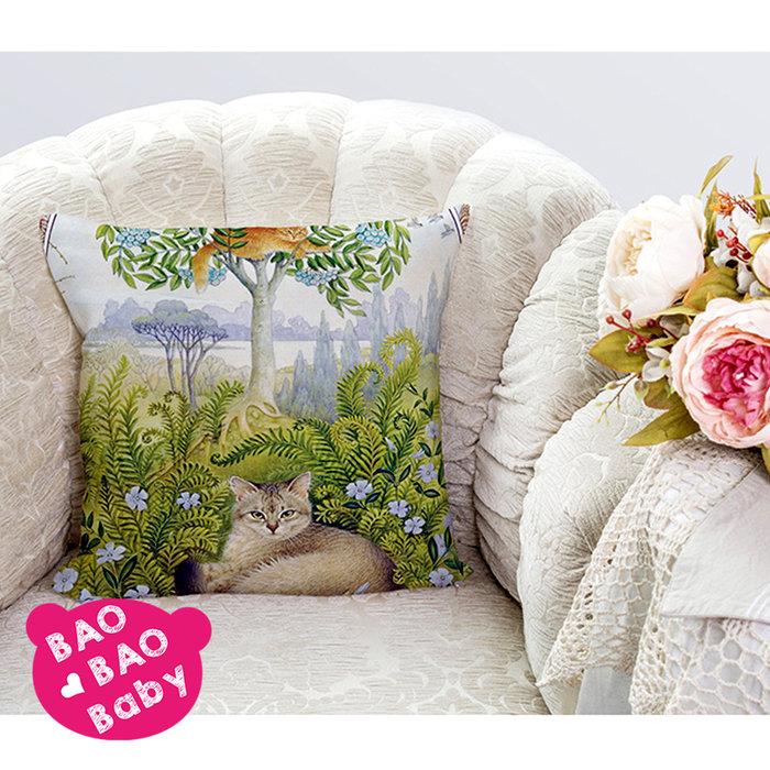 【寶貝日雜包】瑞典貓咪繪圖抱枕套 貓咪抱枕套 沙發抱枕 靠枕 抱枕 枕套 方型抱枕