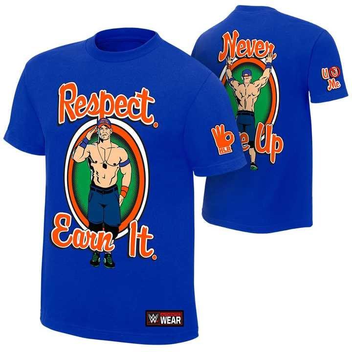 WWE摔角衣服 John Cena Respect Earn It 尊重 賺錢 賽納藍色短袖T恤 買三免運