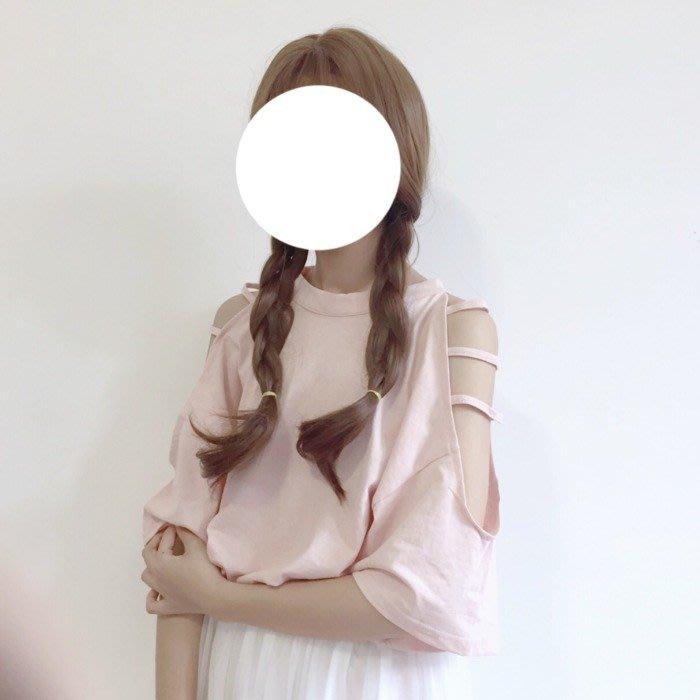 韓版 平口T恤 一字肩 寬松百搭顯瘦短袖女學生森系T恤小心機露肩上衣