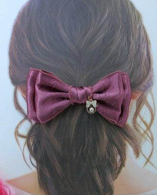 檸檬手作髮飾  韓國捲邊貢緞蝴蝶結髮夾/髮束/髮箍   2色