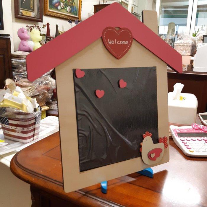 美生活館 屋型 welcome 歡迎   愛心 公雞 造型  黑板 掛飾