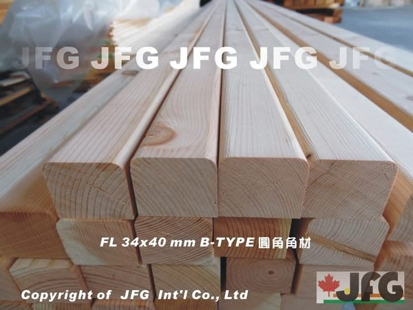 JFG 木材批發 *【DF圓角角材】B-TYPE 34x40mm 原木 木工 木條 扶手 裝潢 南方松 欄杆 地板