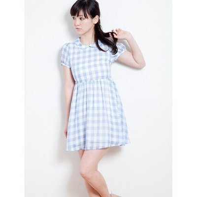 全新 日本 Earth Music 淡藍 雪紡格紋洋裝   in jp Yabbi KIKI Rika mu nini