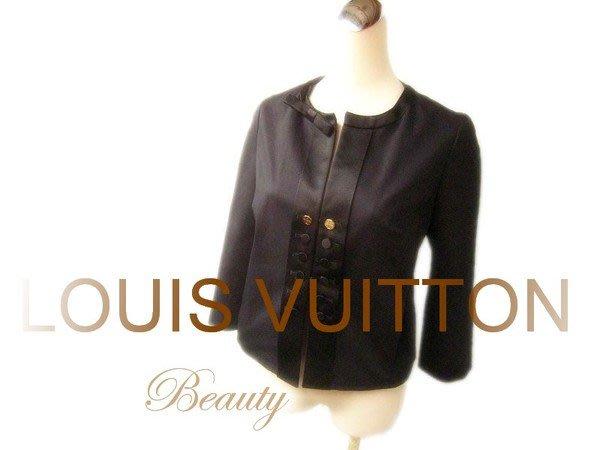 *Beauty* LOUIS VUITTON LV黑色蝴蝶結緞邊LOGO金釦禮服短版外套 WE11
