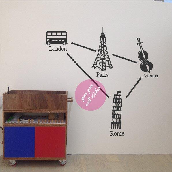 【源遠】世界旅行-倫敦、巴黎、維也納、羅馬【C-12】壁貼 歐洲 歐盟  時尚 音樂 競技場