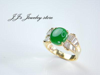 【J.Jewelry Store】蝴蝶結造型款 天然翡翠鑽石女戒 國際圍14號 JR1310332 鋐錡珠寶