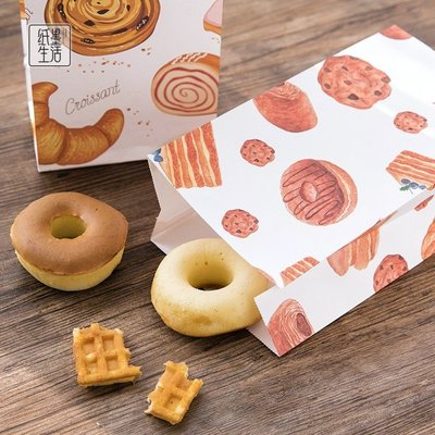 烘焙房禮物袋紙墨生活折口袋手繪旅行禮品糖果包裝紙質收納袋6個