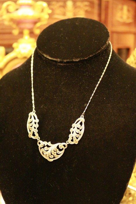 【家與收藏】特價珍藏歐洲古董法國精緻優雅仕女手工珠寶細緻銀浮雕寶石項鍊