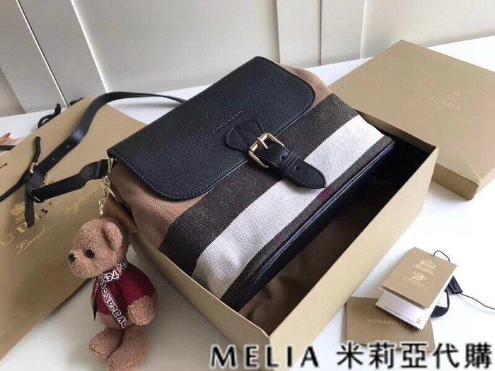 Melia 米莉亞代購 美國精品代購 巴寶莉 戰馬 女士秋冬新款 郵差水桶包 可斜背單肩 帆布配皮 黑色