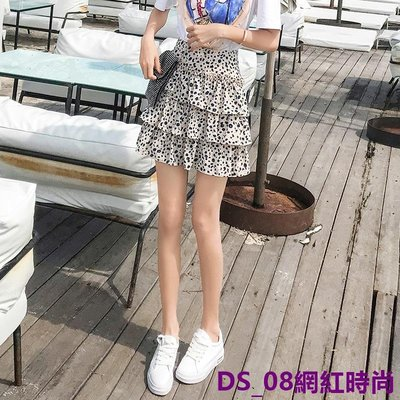 DS_08網紅時尚雪紡碎花半身裙夏女2019夏季新款正韓高腰短款蛋糕裙