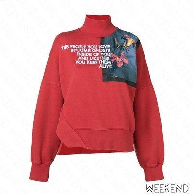 【WEEKEND】 EACH X OTHER 立領 印圖 文字 側邊開岔 長袖 上衣 紅色 18秋冬