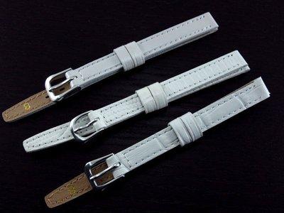 艾曼達精品~8mm白色鱷魚皮紋,全平面真皮面錶帶,有效替代名牌貴貨