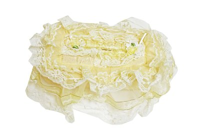 特價 蕾絲收納!!淡黃色 蕾絲 衛生紙套 小花 蝴蝶結 緞帶 收納 V-011
