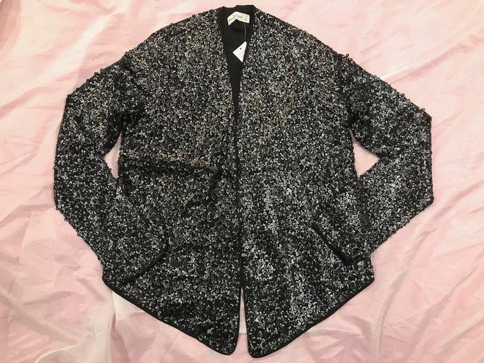 【天普小棧】A&F Abercrombie&Fitch Sequin Jacket黑色亮片開襟外套S號