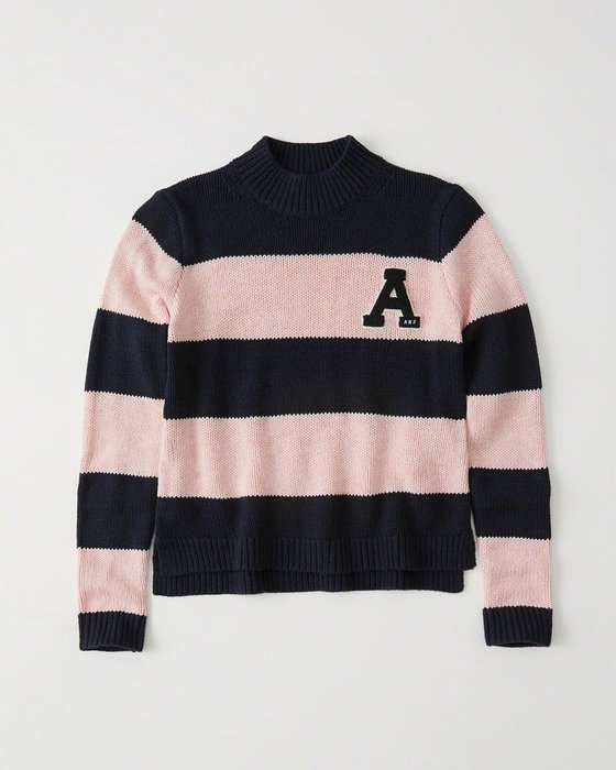 Maple麋鹿小舖 Abercrombie&Fitch * AF 雙配色大A貼布字母針織毛衣 * ( 現貨M號 )
