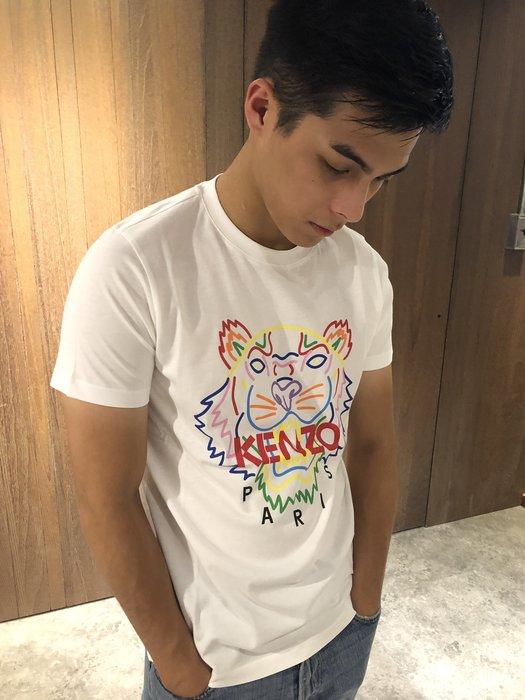 美國百分百【KENZO】高田賢三 T恤 圓領 T-shirt 短袖 logo 虎頭 印圖 白色 上衣 男 S號 J400