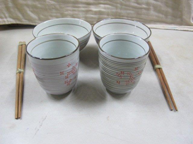 二手舖 NO.1157 陶瓷碗杯組+筷 2入