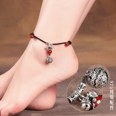 925純 銀鈴鐺腳 鏈女有聲 音古風性 感腳踝鏈 復古民族 風足鏈森 系夏季