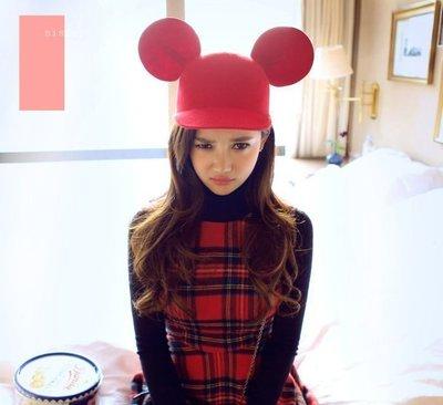 Sis 韓國 派對 羊毛呢 米老鼠耳朵帽子 米奇 迪士尼 貓耳帽 小禮帽 帽子