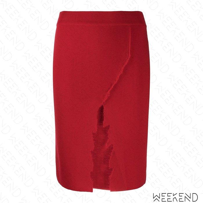 【WEEKEND】 ANTONELLA RIZZA 破壞 開岔 針織 彈性 短裙 紅色