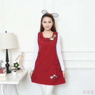 居家家 防水圍裙韓版時尚冬季公主圍套家務清潔工作服可愛防油蛋糕店圍裙
