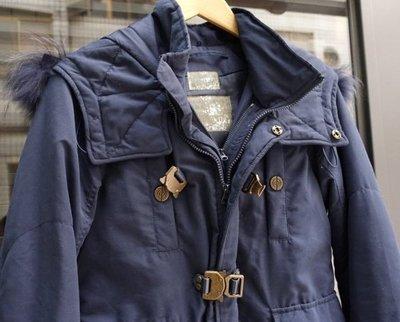 日本品牌 SLY 女款 深藍色 連帽鋪棉短大衣 2號