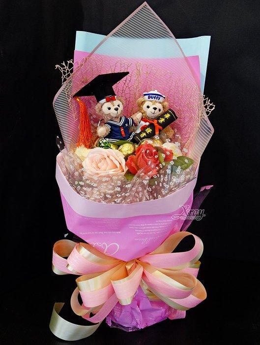 達菲熊 捧花,Duffy/金莎捧花/花束/畢業花束/情人節禮物/求婚,節慶王【Y918005】