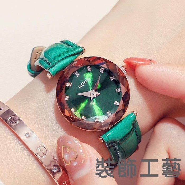 guou古歐正品手錶 氣質小巧水鉆石英日本機芯手錶時尚真皮腕錶女