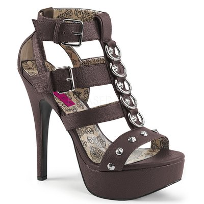 Shoes InStyle《五吋》美國品牌 PINK LABEL 原廠正品金屬環鉚釘高跟涼鞋大尺碼11-16碼『咖啡色』