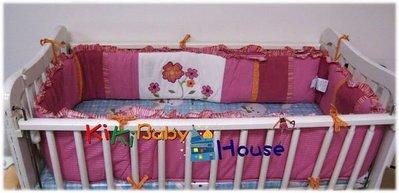 ☆奇奇娃娃屋(MS)☆baby martex,桃紅色立體繡花大床圍(25*395cm)超厚款~890元(免運)