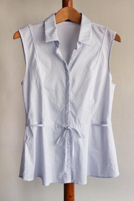 G2000淺灰藍細條紋襯衫背心-司3F-i本P33