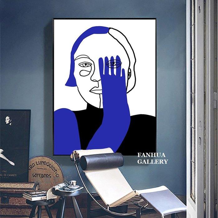 C - R - A - Z - Y - T - O - W - N 巴塞隆納藝術家設計師掛畫抽象人像女人速寫線條版畫時尚裝飾畫藍黑小眾藝術版畫時尚工作室品味掛畫