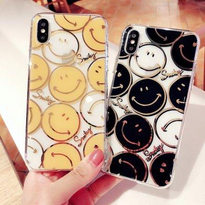 Little-luck~韓國燙金iphonexs笑臉手機殼7plus情侶8p透明xmax立體感蘋果6p6s