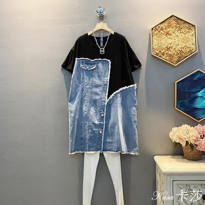 時尚大碼♥大碼休閑拼接牛仔寬松顯瘦大尺碼中長款連身裙