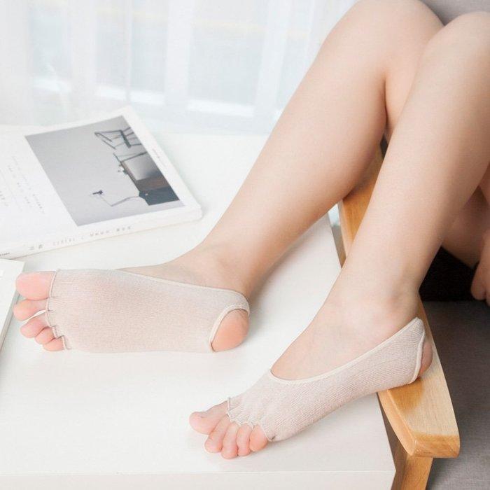 五指襪 運動襪 船型襪 魚嘴露腳趾露跟襪五指襪女 純棉 隱形船襪薄款淺口瑜伽肉黑色