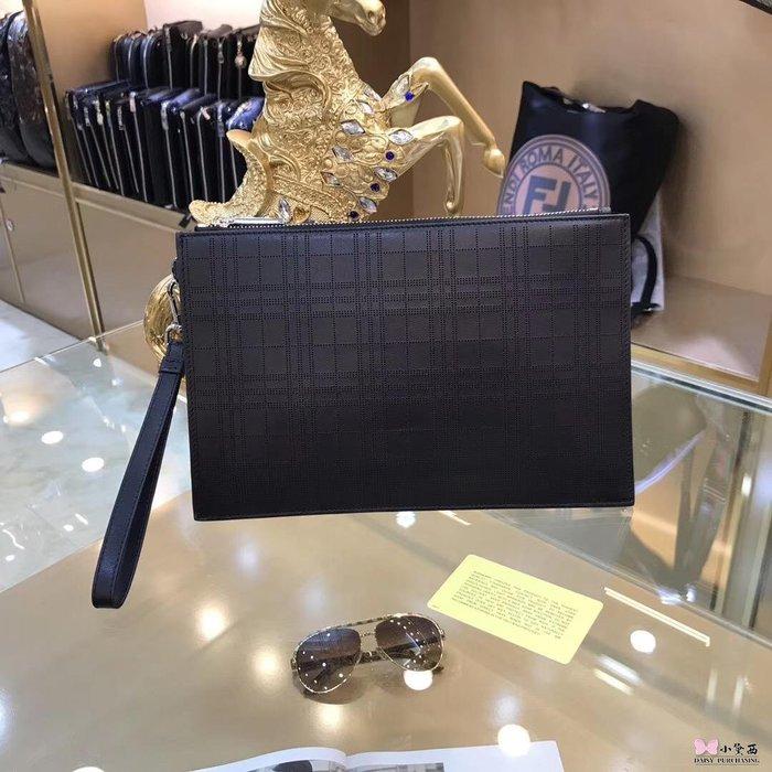 【小黛西歐美代購】Burberry 巴寶莉  新款 男士素面條紋手拿包 英倫時尚 美國outlet代購