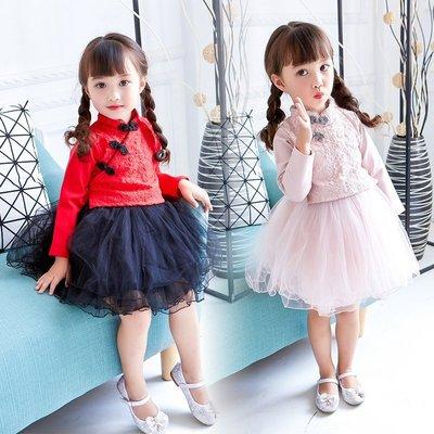 女童旗袍 新款兒童唐裝民族風長袖寶寶公主連衣裙蓬蓬紗裙—莎芭