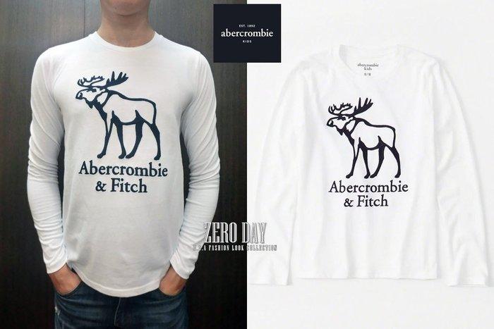 零時差美國時尚網a&f真品abercrombie&fitch boy logo graphic tee大麋鹿長袖T-白色