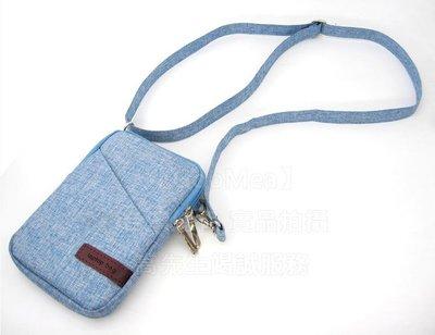 【GooMea】3免運 SUGAR Y18  6吋 手機套 亞麻布 拉鍊款 手拿袋 手機殼 手拿 斜背 淺藍