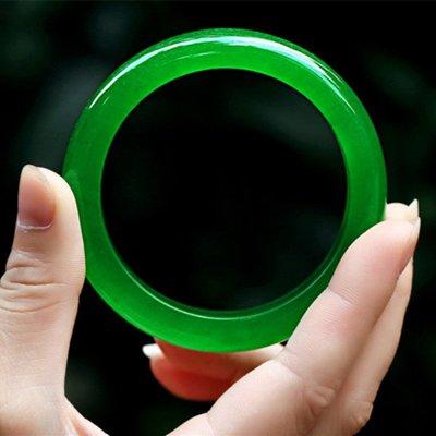 【福寶堂】正品天然A級 冰種碧綠翡翠玉手鐲 碧綠色玉鐲子 滿綠手鐲女款