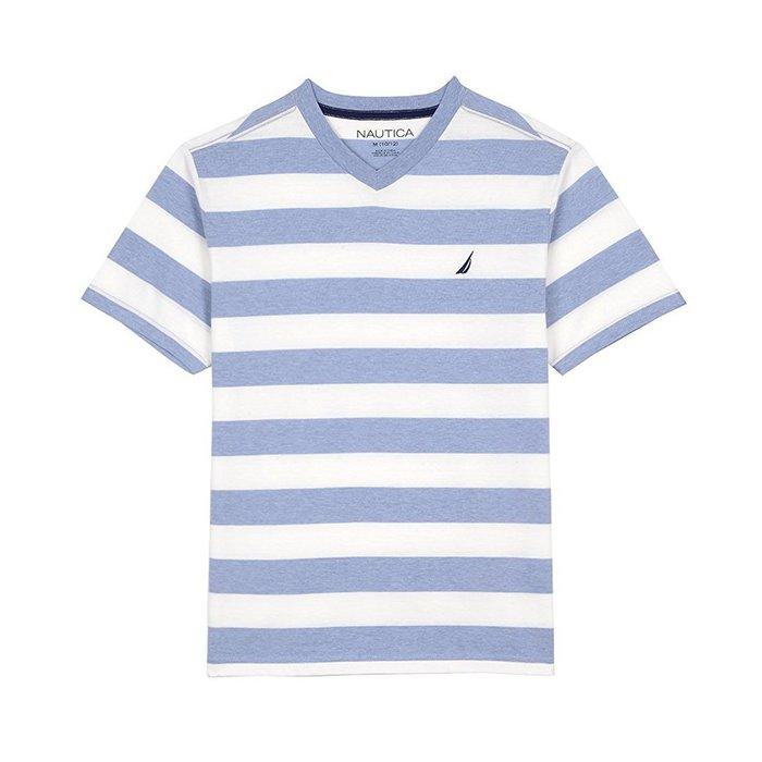 美國百分百【全新真品】Nautica T恤 V領 帆船牌 T-SHIRT 短袖 條紋 短T logo 藍白 I342