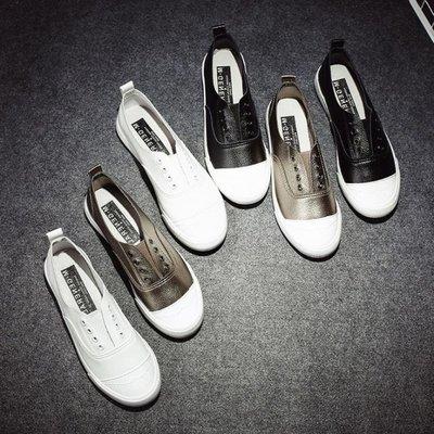 特惠❧歐美套腳正韓小白鞋板鞋pu皮樂福鞋低筒女式休閒鞋帆布鞋 米米旗艦店