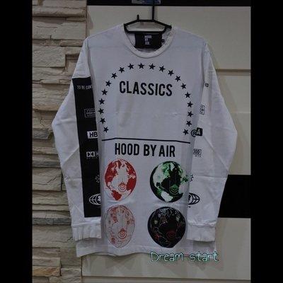 HOOD BY AIR HBA 地球 星球 長袖T 大學T 衛衣 二手正品 八成新 白色 現貨M Supreme可參考