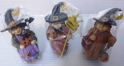 龍廬-自藏出清~波麗冷瓷彩繪製品巫婆萬聖節造型人物公仔擺設/3款一起賣/節日裝飾/樹脂製品