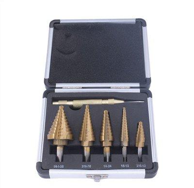 高速鋼英制寶塔鑽三角柄鍍鈦開孔器 6件套擴孔開孔階梯鑽頭套裝 6件套英制寶塔鑽套裝