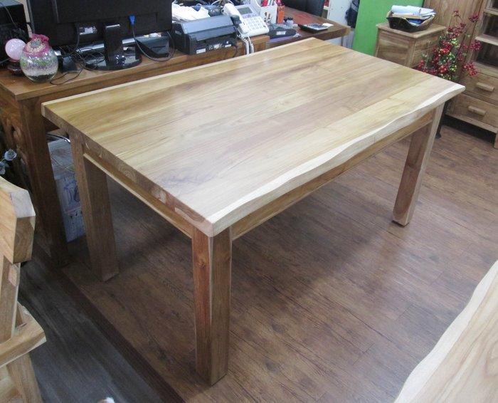 【肯萊柚木傢俱館】(訂製款)獨特自然 100%老柚木 桌面平光漆 大塊拼接 實木腳 實用耐用 餐桌 工作桌(不含凳)