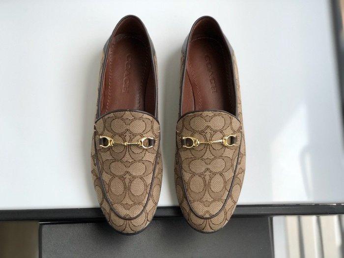 NaNa代購 COACH 懶人鞋 休閒鞋 穿脫方便 C字帆布 內裡墊腳羊皮 穿著舒服 橡膠鞋底防滑 附禮品盒 購證